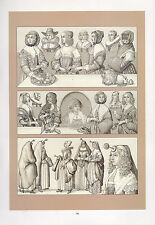 VINTAGE FASHION COSTUME PRINT ~ EUROPE 17th CENTURY GERMANY FRANCE & ENGLAND