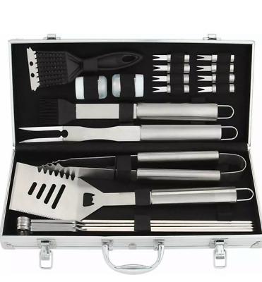 HOMEMAXS BBQ Grill Tools 5Pcs Steel Utensils Set Clean Brush Tong Fork Spatula