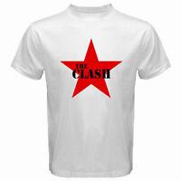 New THE CLASH Punk Rock Band Legend Red Star Logo Men's White T-Shirt Size S-3XL
