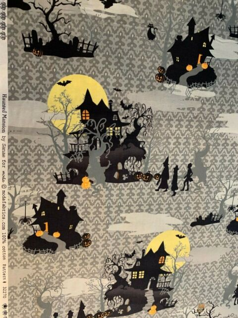 Spooky Haunted House with Pumpkins Halloween Fabric Material