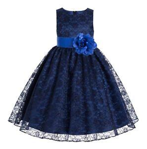 bb65f7f36 Details about Navy Blue Lace Flower Girl Dress Junior Bridesmaid Dress  Recital Dress Communion
