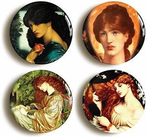 ROSSETTI-PRE-RAPHAELITE-BADGE-BUTTON-PIN-SET-Size-is-1inch-25mm-diameter