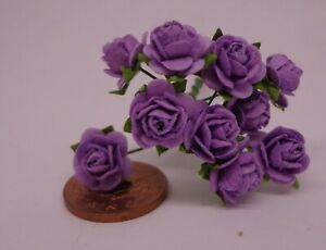 Dolls House Wallpaper 1:12 Victorian Roses Scattered Medium Blue Violet#R010