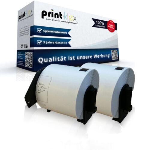 2x kompatible Adress Etiketten Rollen für Brother QL1060N DK11202 Label 62x100mm