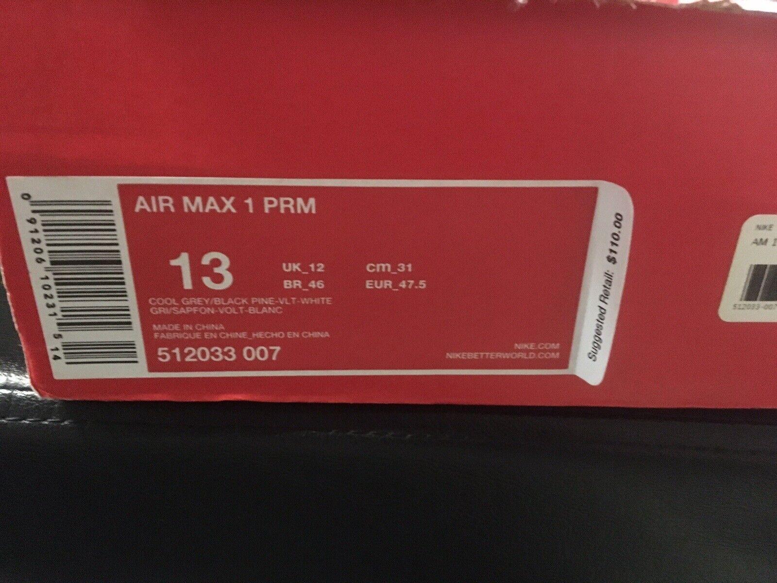 Nike Air Max 1 PRM Cool Grey Black Volt