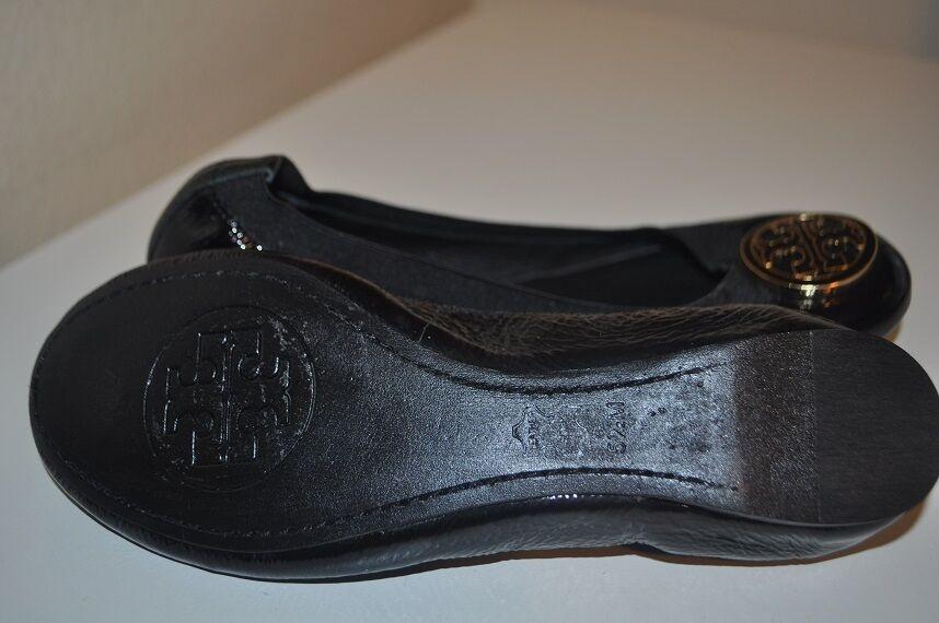 225+ Tory Burch CAROLINE Sz 5.5  BLACK BLACK BLACK Patent Leather Ballet Flat shoes 2340c7