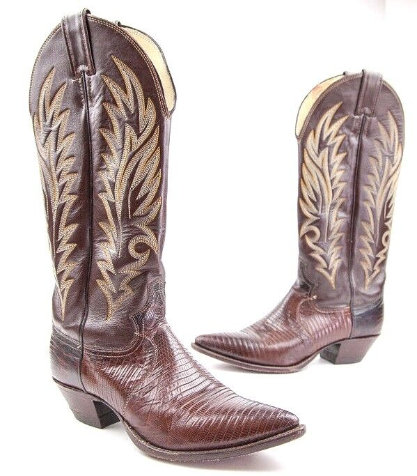 Justin Leather Snake Skin Embossed Cowboy Western Boot Dark Dark Dark Brown - 6.5B 280acc