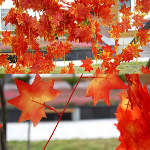 Artificial Red Autumn Maple Leaf Garland Vine For Wedding Party Home DecorH wr