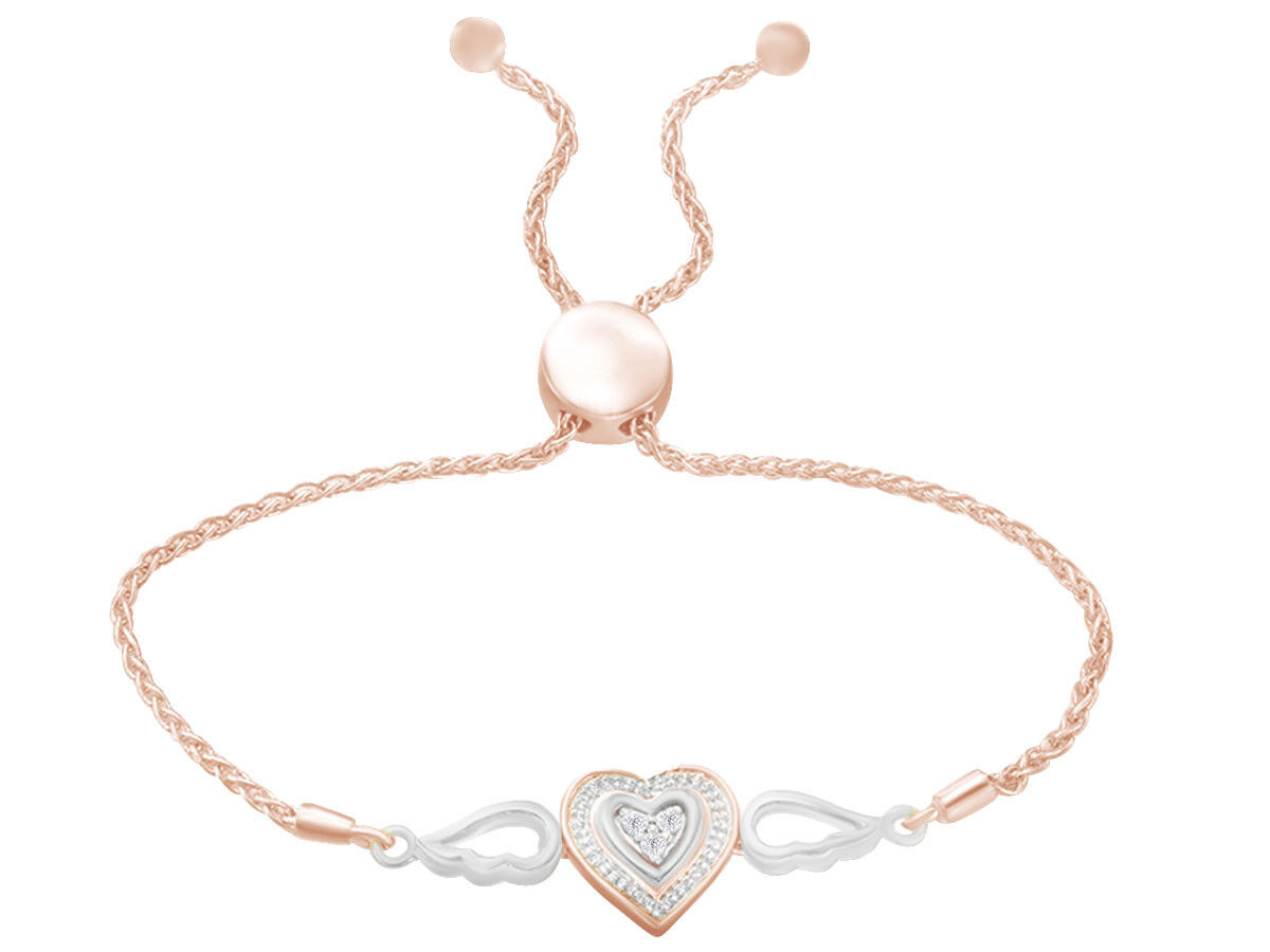 0.06 CTW Natural Diamond Accents Double Heart Bolo Bracelet
