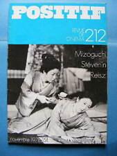 Cinéma revue Positif 212 1978 Karel Reisz Kenji Mizoguchi Jean-François Stévenin