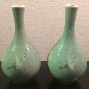 Awesome Pair Vintage Chinese Celadon Porcelain Cranes Feminine Female Vases