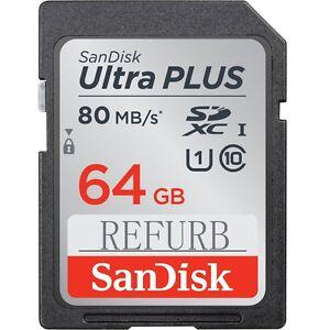 64GB-SanDisk-SDXC-Ultra-Plus-Class10-80MB-S-U1-UHS-I-SD-Memory-Card-SDSDUNC-064G