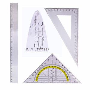 Geometrie-Set-Zeichengarnitur-4-Set-Geodreieck-Lineal-30cm-Parabel-Winkelmesser