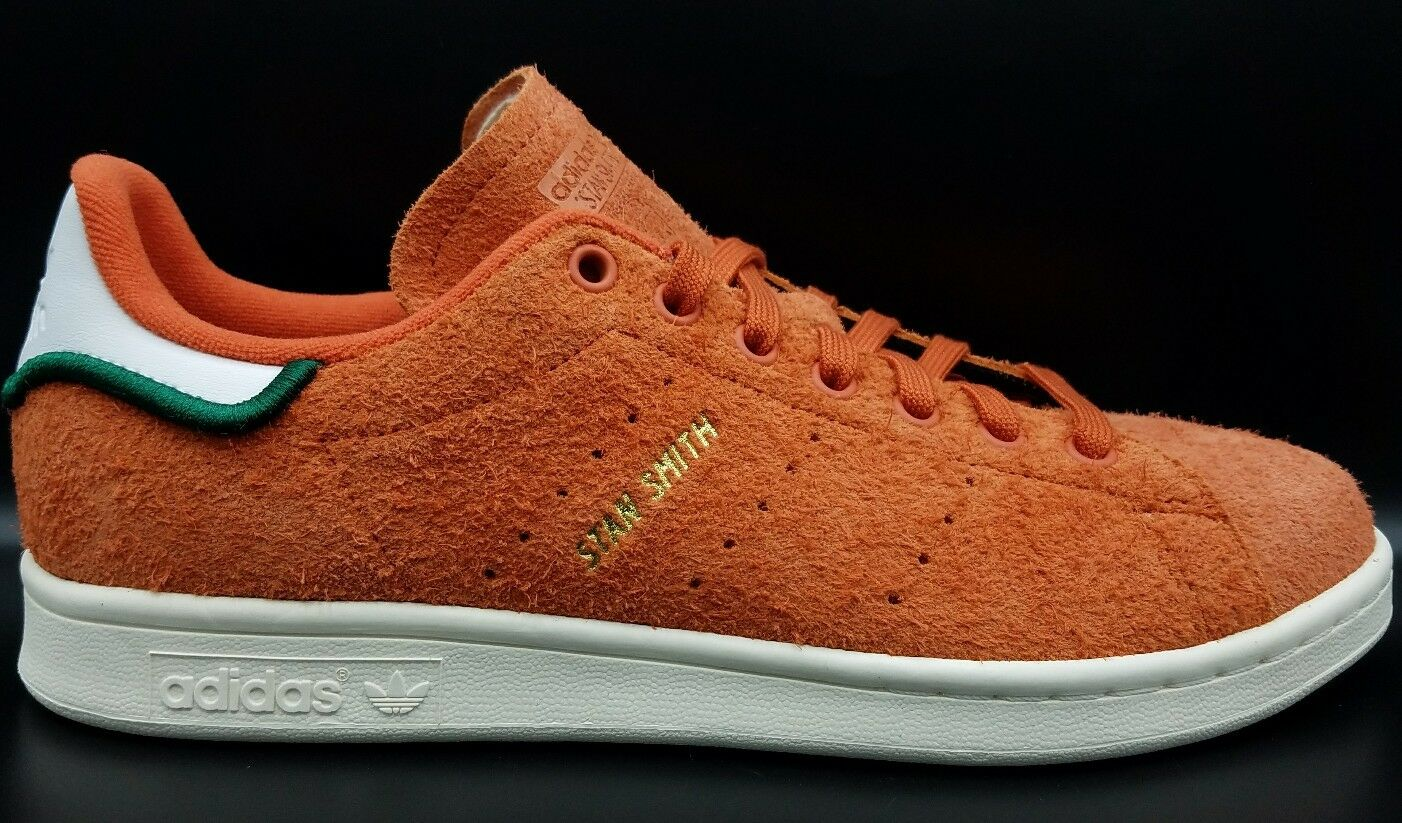 Adidas Originals Stan Smith Hairy Suede Trace Orange Vintage White Green CQ3091