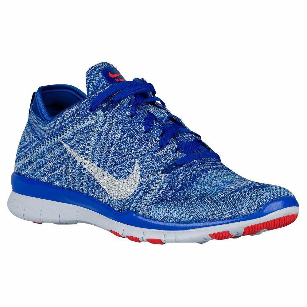 NWB Womens Nike Free TR Flyknit Running Shoes Racer Blue/White/Bright Crimson