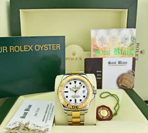 ROLEX-40mm-18kt-Gold-amp-Stainless-Yachtmaster-White-Index-16623-SANT-BLANC