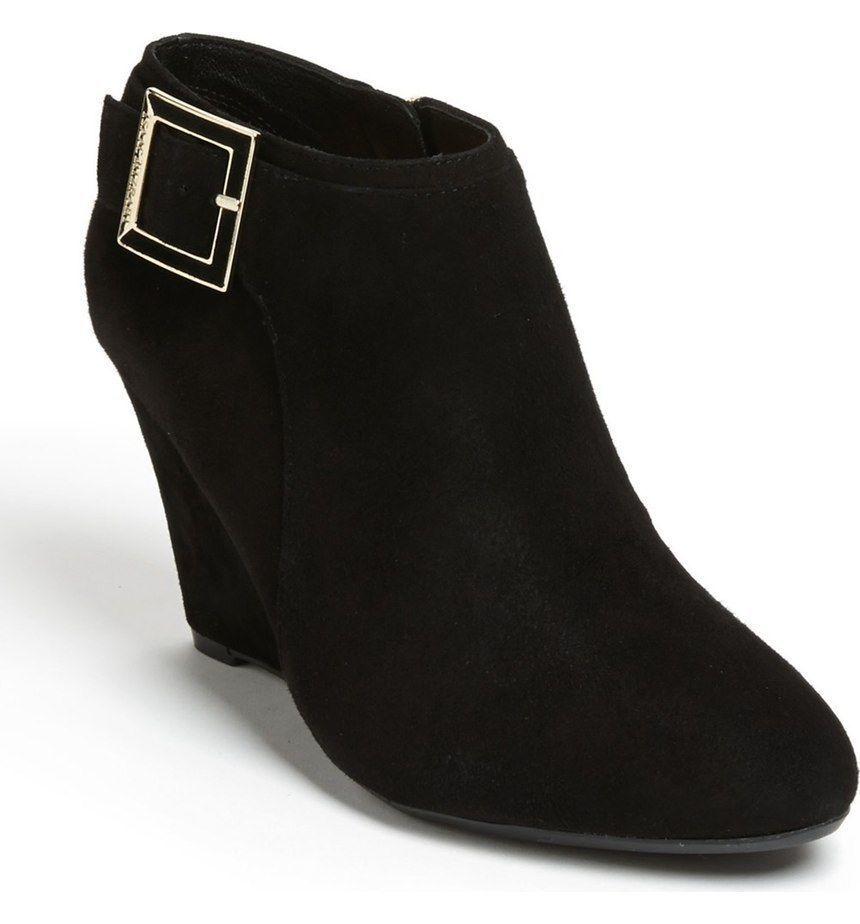 New ISAAC MIZRAHI Donna Suede High Wedge Heel Side Zip Ankle Boot Shoe Sz 9 M