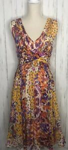 Suzi Chin for Maggy Boutique Size 4 Floral Silk Lined Cocktail Dress NWT Spring