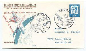 1964 Hermann Oberth Gesellschaft Weltraums Darmstadt Raketen Gemini Space Sat