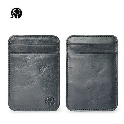 Genuine Leather Money Clip ID Credit Card Case Holder Slim Wallet Mens Wome