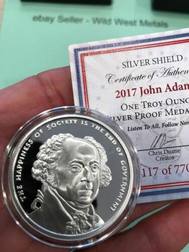 2017 JOHN ADAMS PROOF #2 SILVER SHIELD PRESIDENTIAL SERIES RARE 770 MINTED