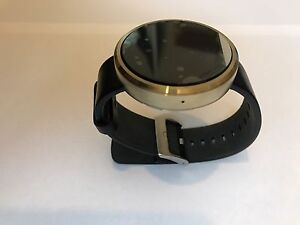 New-Motorola-Moto-360-Gold-With-Black-Leather-Android-Smart-Watch-Activity-Track