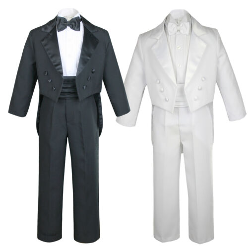 Boys Suits Black White Cummerbund Bow Tie Tail Tuxedos Baby Toddler Teen S-20
