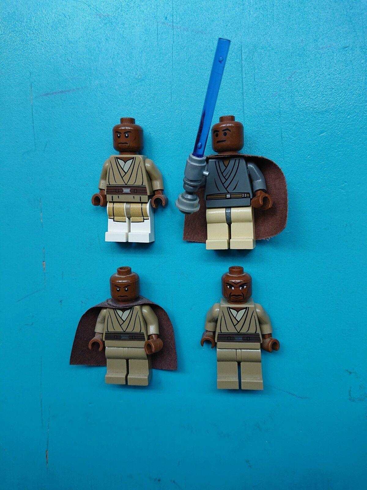 Lego Star Wars Lot Lot Lot 4 Different Jedi Mace Windu Minifigures, Lightup Lightsaber  002b5c