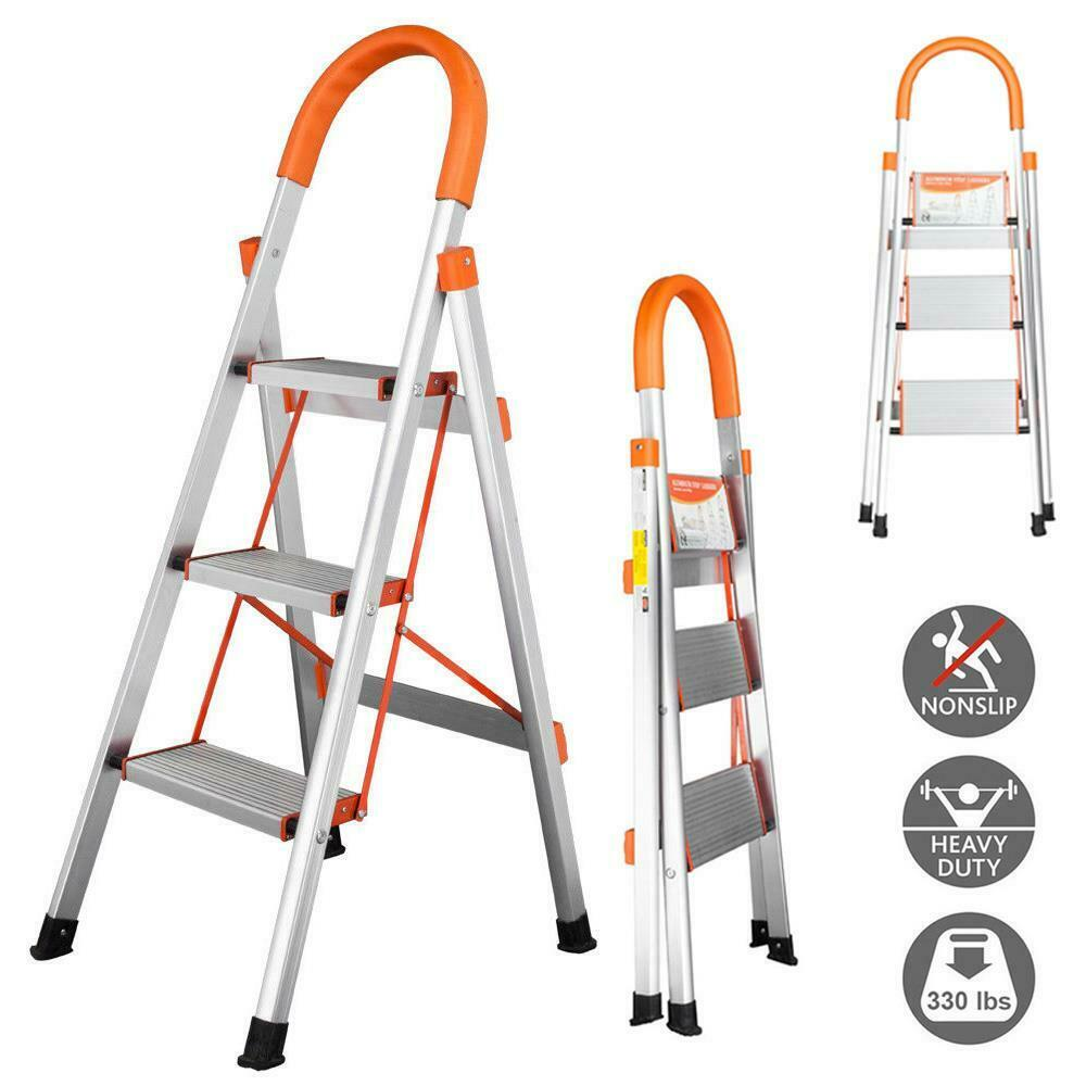 non slip 3 step aluminum ladder folding