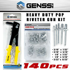 Pop Riveter Gun Kit 140pc Blind Rivet Hand Tool Set Gutter Repair Heavy Duty