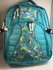 Details about  /High Sierra Swerve Daypack Backpack Computer Sleeve Tropical Teal Toucan