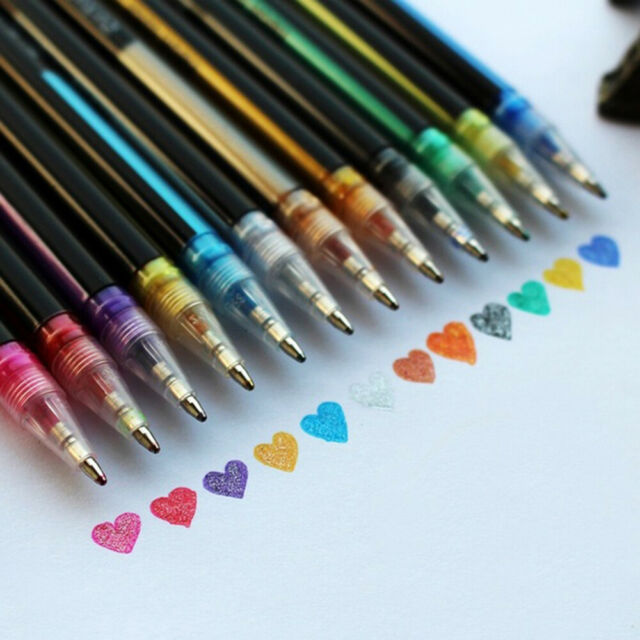 12 Colors Glitter Gel Pen Scrapbooking Coloring Drawing Painting Note Art Marker