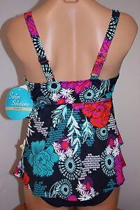 NWT Swim Solutions Swimsuit Bikini Tankini 2 pc set Sz 8 NVY Ruffles