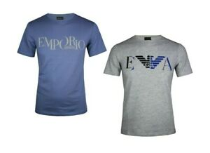 Emporio-Armani-Mens-New-T-Shirt-NWT-Casual-Gray-Blue-Short-Sleeve-S-M-L-XL-XXL