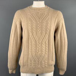 MANRICO-Size-L-Tan-Cable-Cashmere-Crew-Neck-Sweater
