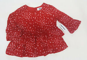 NWT-Baby-Girls-Old-Navy-Size-3-3t-Red-Heart-Ruffle-Top-Shirt-Valentines-Day