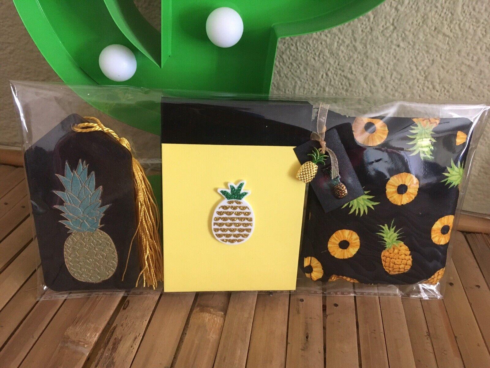 Retro Tiki 🍍Pineapple Luggage Tag/label +Notebook +Charm Purse 3pc Gift Set