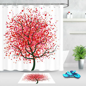 Valentine/'s Day Red Hearts on Tree of Life Shower Curtain Set Bathroom Decor 72/""