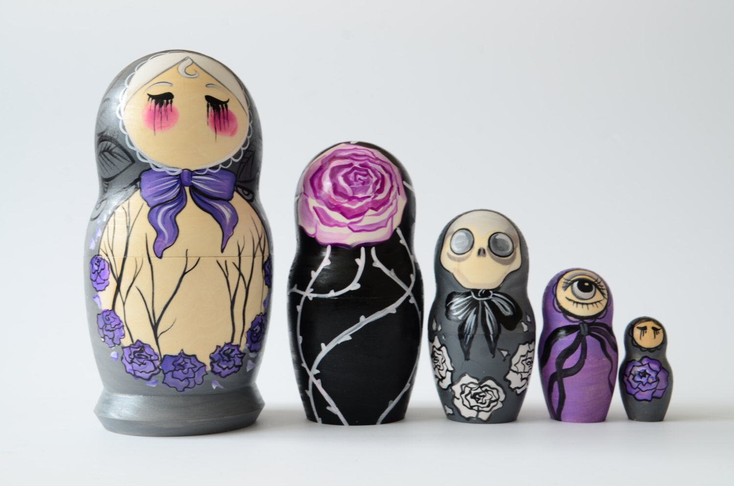 New, Hand Painted Russian Nesting Doll Matryoshka Crazy, Psycho, Made In Russia