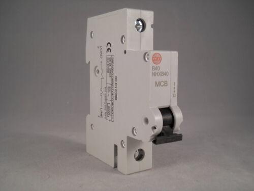 Wylex MCB 40 Amp Simple Pôle Disjoncteur Type B 40 A NHX NHXB40