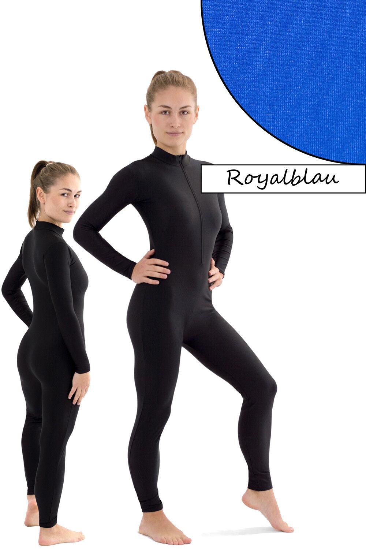 Damen Ganzanzug Front-RV Royalblau Sport Voltigieranzug stretch elastisch shiny