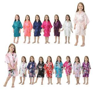 6ffc9ffa1 Silk Satin Flower Girls Child Kimono Robe Nightwear Wedding Gown ...