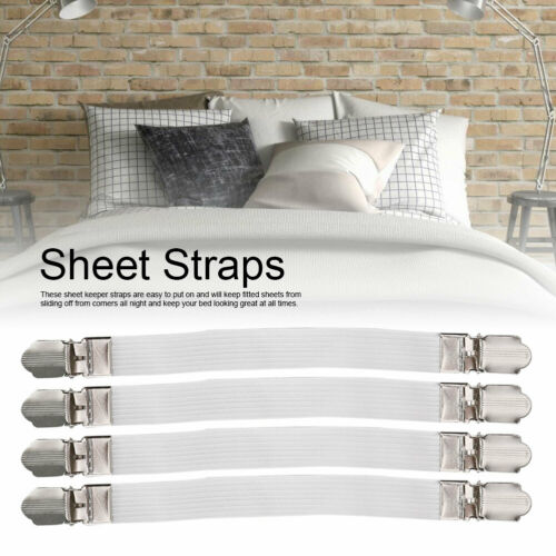 4Pcs Fitted Bed Mattress Sheet Clips Grippers Straps Suspender Fasteners Holders