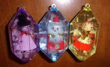 3 Vtg Jewelbrite Christmas Ornaments Spun Cotton Chenille Felt Diorama Lot Set