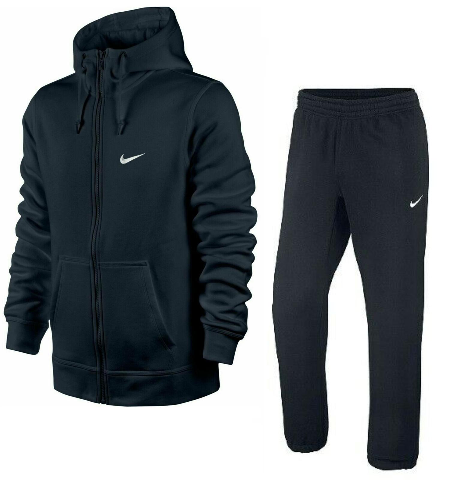 Nike Mens Full Tracksuit Hoodie & Joggers Gym Zip Hoody Jogging Bottoms Navy