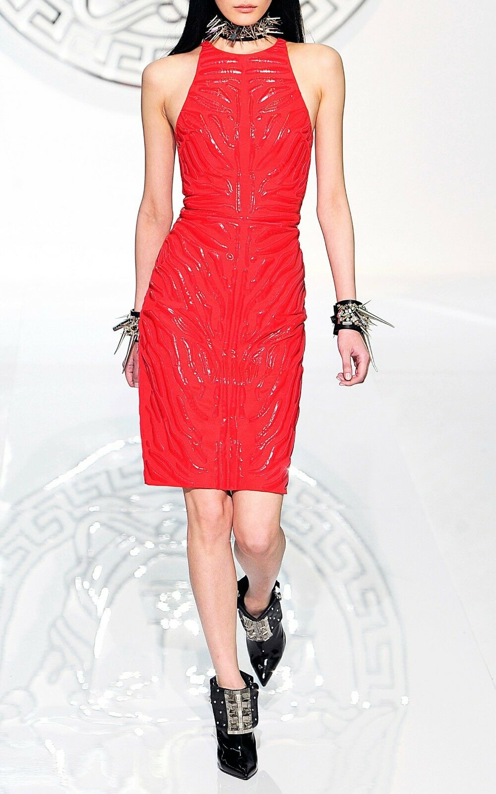 4,875 New Versace Red Crepe Cady Sheath Dress Dress Dress With Vinyl Animal Stripes 38 a1b0c6