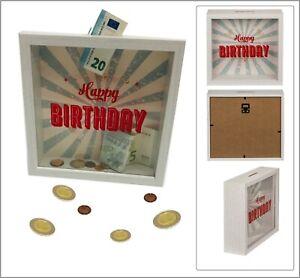 Happy-Birthday-Geburtstag-Spardose-Sparschwein-Holzrahmen-Acyrl-Glas-20x20x5cm