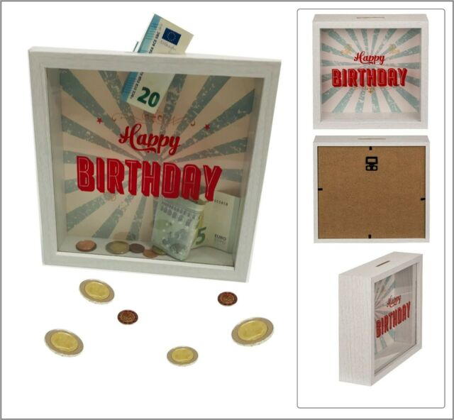 Happy Birthday Geburtstag Spardose Sparschwein Holzrahmen Acyrl Glas 20x20x5cm