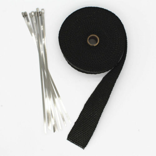 """Motorcycle Exhaust Heat Wrap Protection Black Header Tape 1/"""" X 25/' Ties PIPE NEW"""