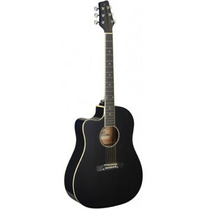 stagg sa35 left hand cutaway acoustic electric guitar black w built in tuner 882030244308 ebay. Black Bedroom Furniture Sets. Home Design Ideas